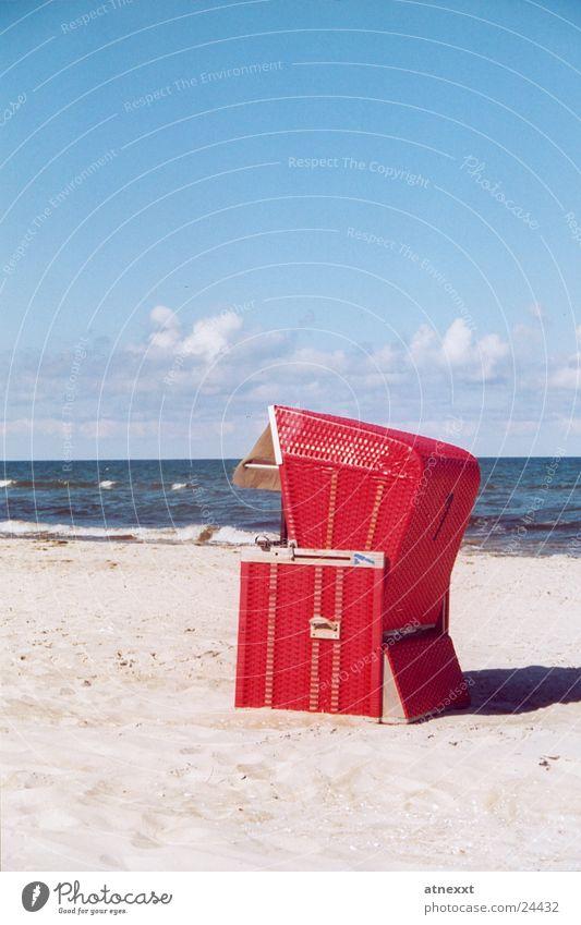 beach chair Beach chair Ocean Vacation & Travel Summer Sandy beach Europe Baltic Sea Sky Relaxation