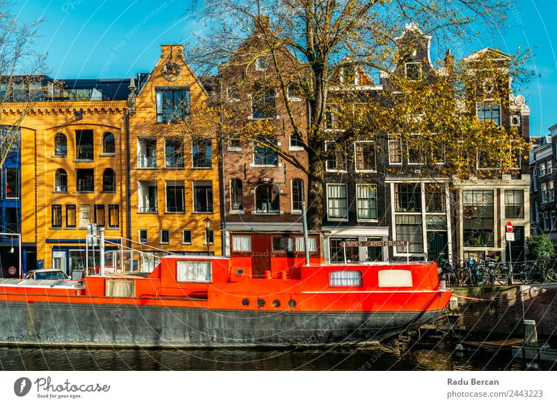 Beautiful Architecture Of Dutch Houses On Amsterdam Canal Sky Vacation & Travel Summer Town Colour Landscape House (Residential Structure) Street Autumn Style