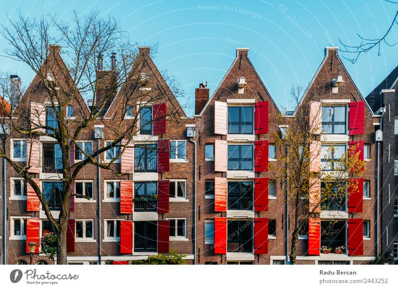 Beautiful Architecture Of Dutch Houses In Amsterdam Vacation & Travel Town House (Residential Structure) Street Autumn Style Building Tourism Facade Design