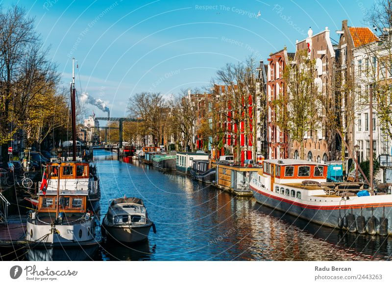 Beautiful Architecture Of Dutch Houses On Amsterdam Canal Sky Vacation & Travel Blue Town Colour Landscape White Red House (Residential Structure) Street Autumn