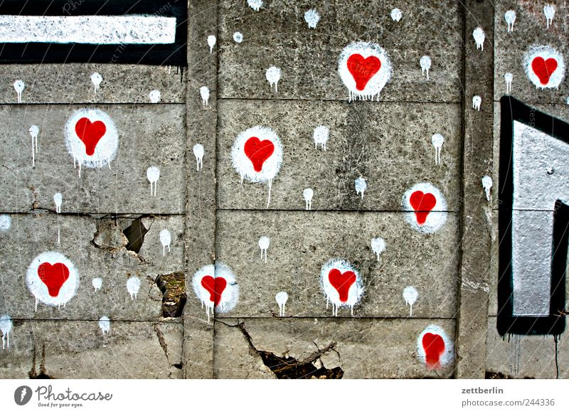 wall Berlin Cemetery Schöneberg Wall (barrier) Concrete Graffiti Illustration Media designer Heart Love Romance Declaration of love Emotions Spring fever Many
