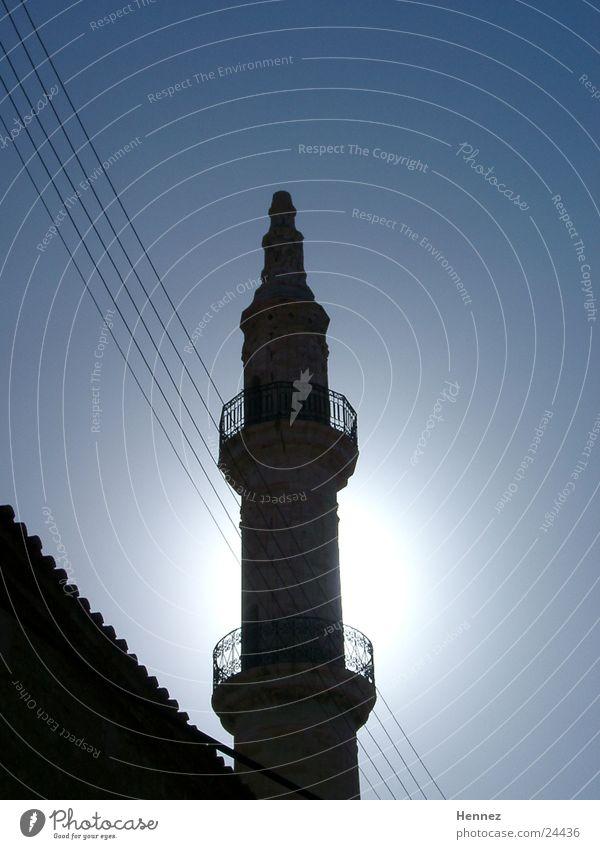 minaret Agios Nikolaos Crete Back-light Minaret Europe Sky Blue