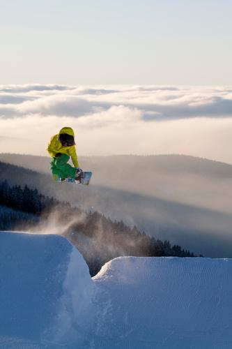 Snowboarding Nature Landscape Clouds Winter Mountain Style Freedom Flying Jump Horizon Fog Speed Tall To enjoy