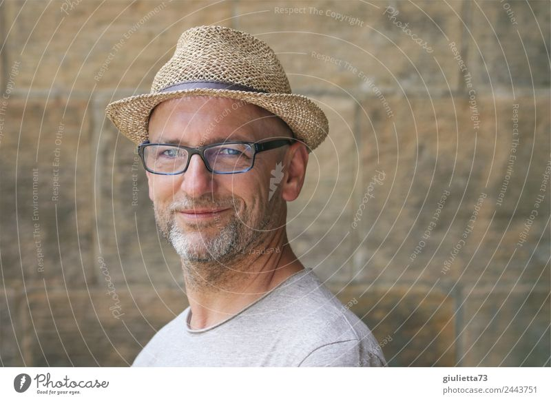 Beautiful smile | UT Dresden Masculine Man Adults Male senior Life 1 Human being 45 - 60 years Summer Beautiful weather Eyeglasses Hat Straw hat Gray-haired