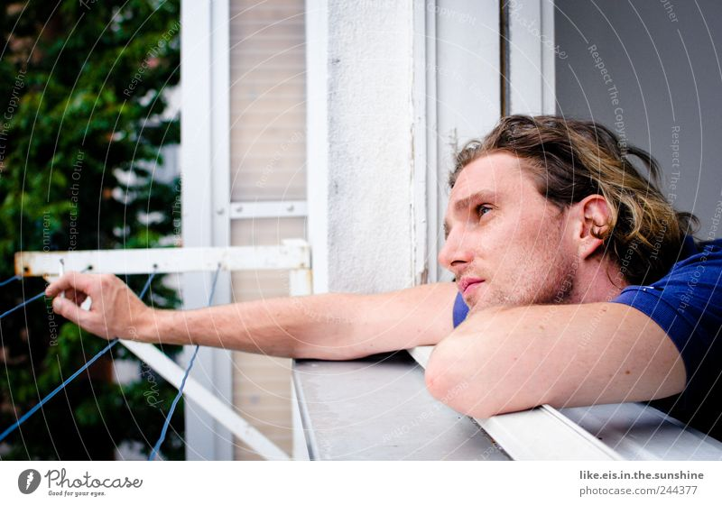wanderlust on balconies Senses Relaxation Masculine Young man Youth (Young adults) Man Adults Life Head Face Arm 1 Human being 18 - 30 years Brunette