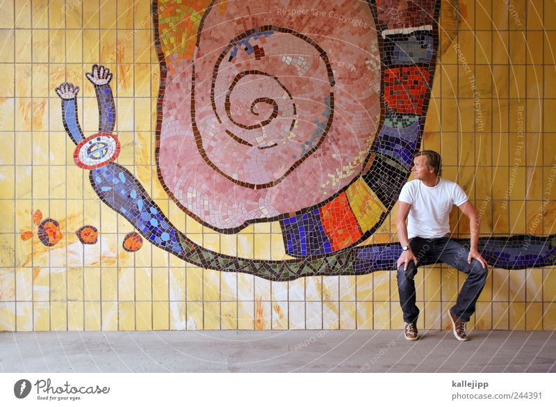 bootlicker Human being Masculine Man Adults 1 30 - 45 years Animal Snail Sit Mosaic Trail of mucus Tile Passenger Colour photo Multicoloured Exterior shot Light