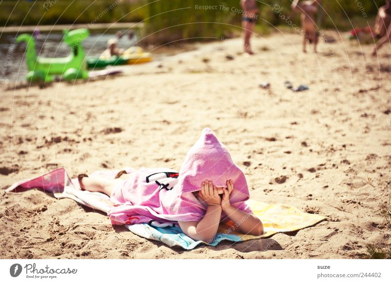 Human being Child Vacation & Travel Girl Beach Joy Environment Playing Sand Lake Funny Infancy Leisure and hobbies Pink Lie Point