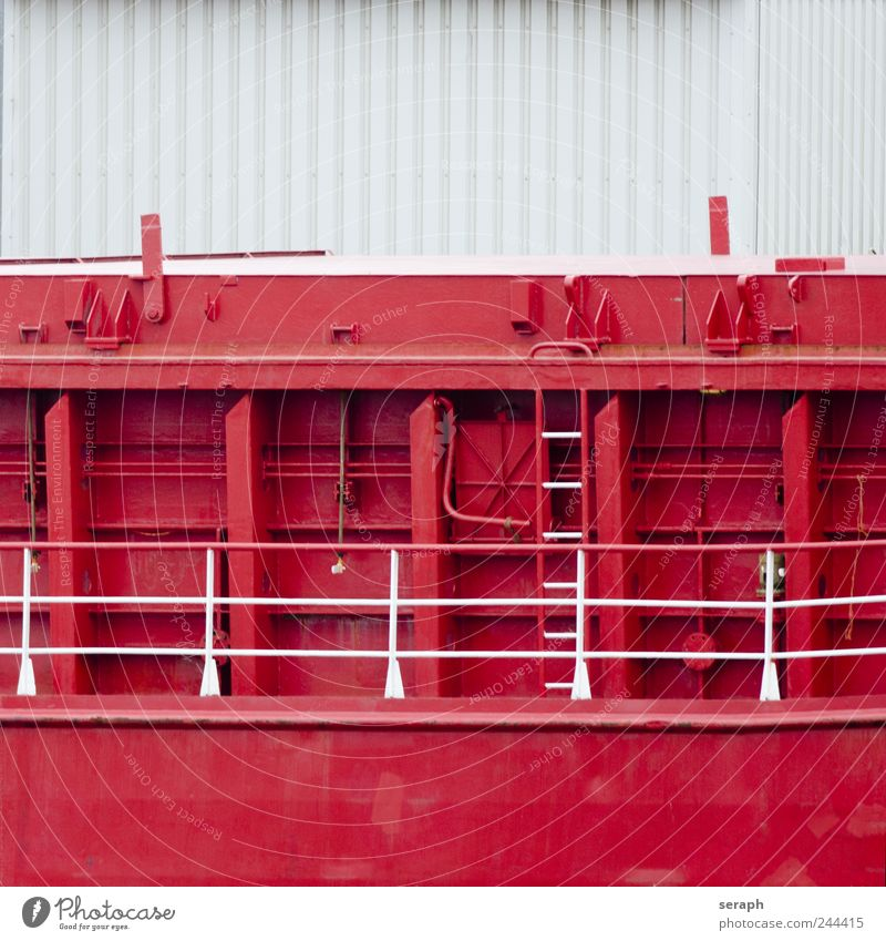 Ship Watercraft Red Hull striking Metal huge Massive Welding seam Iron plate Wall (building) Wall (barrier) Vacation & Travel Ladder part Deck Cruise