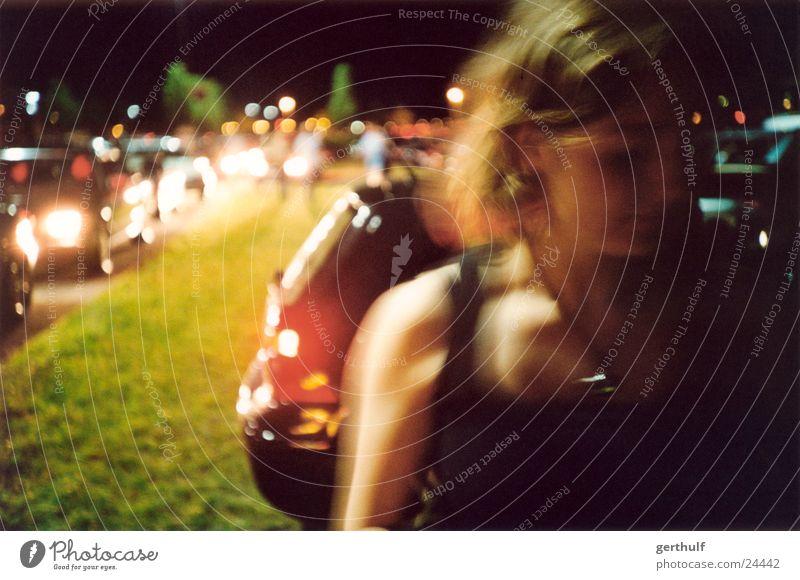 GIRL Motion blur Long exposure Woman Feminine Top Light Traffic jam Night Dark Car moving Movement queue of cars