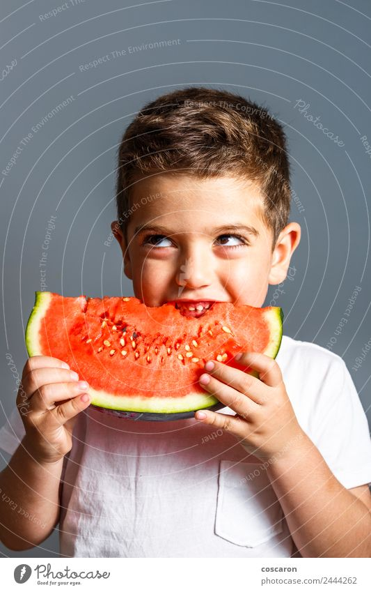 Funny kid eating watermelon indoor. Healthy food Food Fruit Eating Juice Lifestyle Joy Happy Beautiful Face Summer Child Human being Baby Boy (child) Infancy
