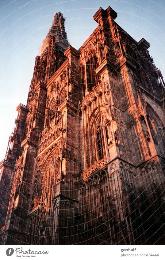 Strasbourg Cathedral Red Sunset Rebuild Restoration Historic Religion and faith House of worship Münster Dome red light Blue sky Beautiful weather restore