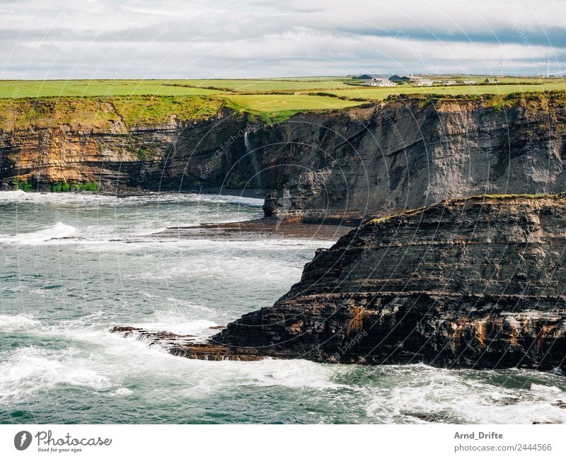 Bromore Cliffs - Ireland Vacation & Travel Tourism Far-off places Summer Summer vacation Ocean Waves Nature Landscape Water Sky Clouds Spring Beautiful weather