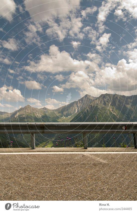 Nature Sky Summer Vacation & Travel Clouds Street Mountain Landscape Bright Environment Horizon End Asphalt Alps Border Peak