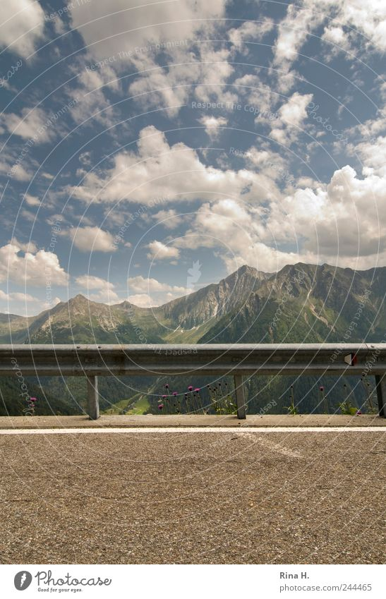 Outlook IV Environment Nature Landscape Sky Clouds Horizon Summer Beautiful weather Alps Mountain Peak Street Overpass Bright End Vacation & Travel Border