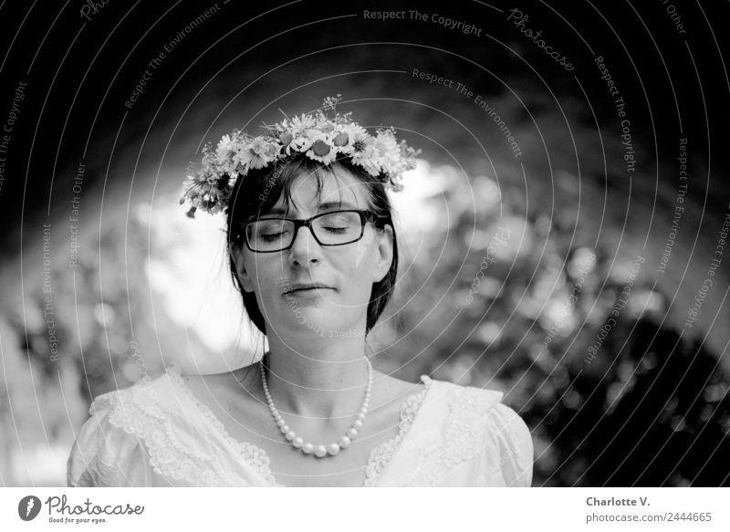 Dreaming | UT Dresden Elegant Wedding Bride Feminine Woman Adults 1 Human being 30 - 45 years Pearl necklace Flower wreath Brunette Bangs Smiling Illuminate
