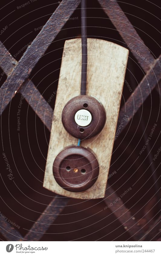 light Ruin Wall (barrier) Wall (building) Door Gate Hang Technique photograph Light switch Electricity Socket Ancient Cable Wood Metalware Colour photo