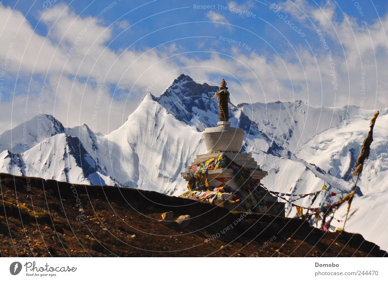 A Stupa in Tibet Environment Nature Landscape Air Sky Sunrise Sunset Beautiful weather Hill Rock Peak Snowcapped peak Happy Contentment Optimism Caution Calm