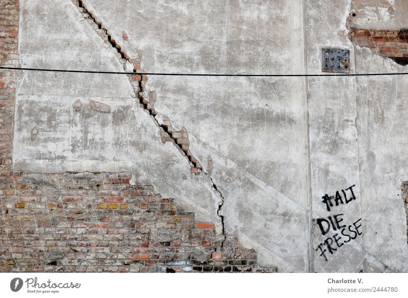 crack | UT Dresden Town Wall (barrier) Wall (building) Brick Rendered facade Plaster Stone Characters Graffiti Old Brash Broken Rebellious Trashy Wild Gray Red