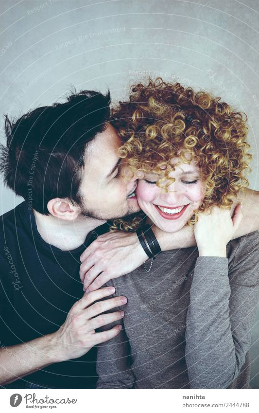 Young couple so happy together Human being Youth (Young adults) Young woman Young man Joy 18 - 30 years Adults Lifestyle Love Feminine Family & Relations Couple