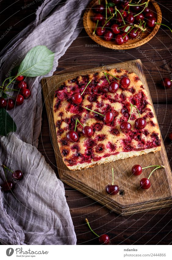 cake with cherries Food Fruit Cake Dessert Candy Plate Wood Eating Dark Fresh Delicious Above Brown Red Black Cherry Pie piece background Baking Bakery Berries