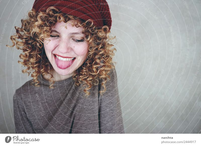 Young happy woman sticking out her tongue Lifestyle Style Joy Beautiful Hair and hairstyles Wellness Human being Feminine Young woman Youth (Young adults) 1
