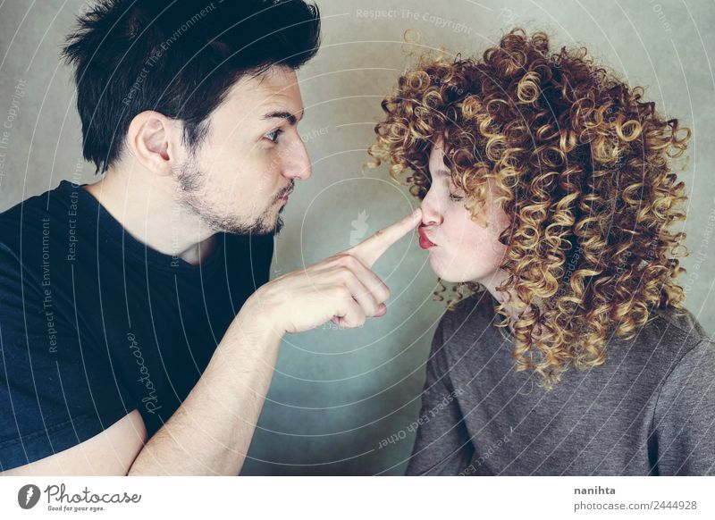 Young funny couple making funny faces Lifestyle Style Joy Human being Masculine Feminine Young woman Youth (Young adults) Young man Family & Relations