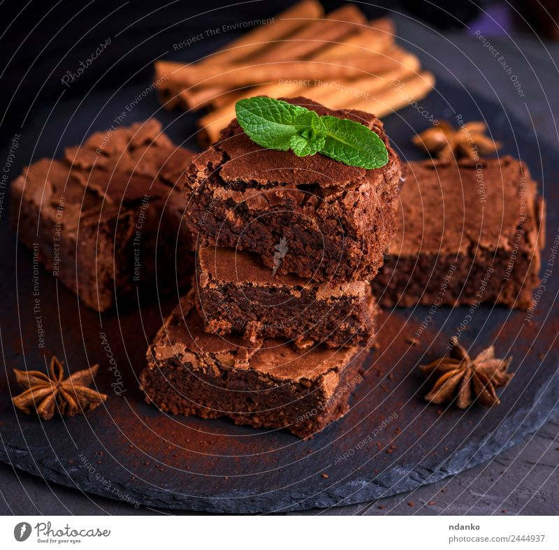 baked chocolate cake Cake Dessert Candy Nutrition Eating Dark Fresh Delicious Above Soft Brown Black brownies Stack background Home-made sweet Tasty Baking