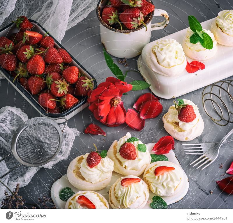 baked meringue with cream Fruit Cake Dessert Candy Nutrition Cup Fork Eating Fresh Small Delicious Gray Red White pavlova Portion background Baking Bakery