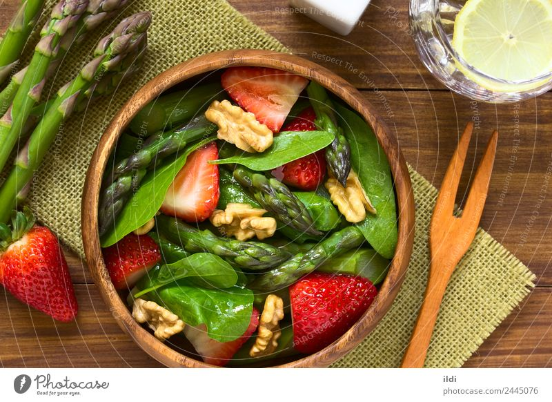 Strawberry Asparagus Spinach and Walnut Salad Vegetable Fruit Vegetarian diet Fresh Healthy Natural food Raw walnut Home-made Meal appetizer Snack Rustic