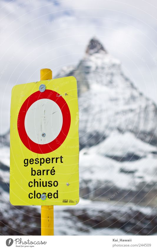 Closed Sightseeing Winter Snow Mountain Matterhorn Zermatt Nature Sky Clouds Climate change Weather Ice Frost Rock Alps Peak Snowcapped peak Glacier Sign