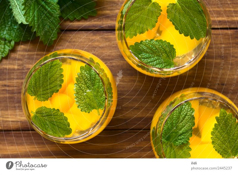 Peach, Lemon Balm and White Wine Punch Fruit Herbs and spices Beverage Alcoholic drinks Fresh Natural food cooler sweet Refreshment glass wine cooler wine punch
