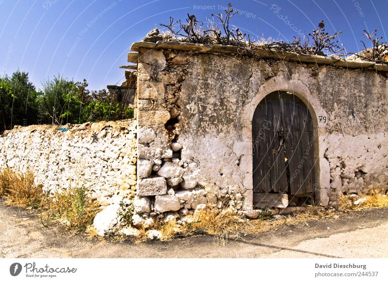 Old Door Vacation & Travel Summer vacation Beautiful weather Village Fishing village Deserted Gate Manmade structures Wall (barrier) Wall (building) Facade Ruin