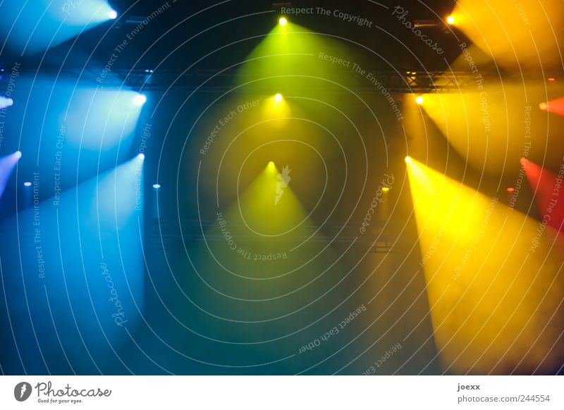 Green Red Yellow Colour Bright Lighting Energy Shows Concert Event Stage Stage lighting Floodlight Visual spectacle & Dark Concert Stage - a Royalty Free Stock Photo from Photocase