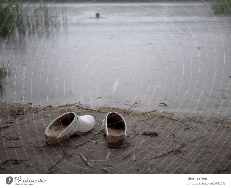 Human being Water Summer Beach Vacation & Travel Loneliness Gray Lake Landscape Rain Footwear Brown Wet Swimming & Bathing Lakeside Pond