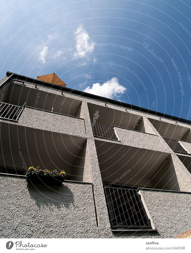 Sky Summer Clouds House (Residential Structure) Wall (building) Wall (barrier) Facade Concrete Balcony Sunshade Beautiful weather