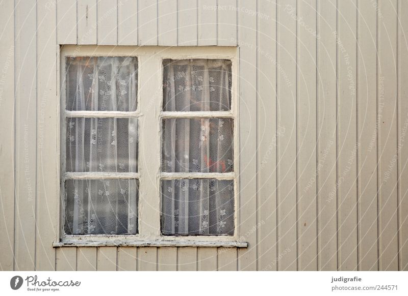 windows House (Residential Structure) Detached house Hut Facade Window Living or residing Line Curtain Old Wood Colour photo Subdued colour Exterior shot