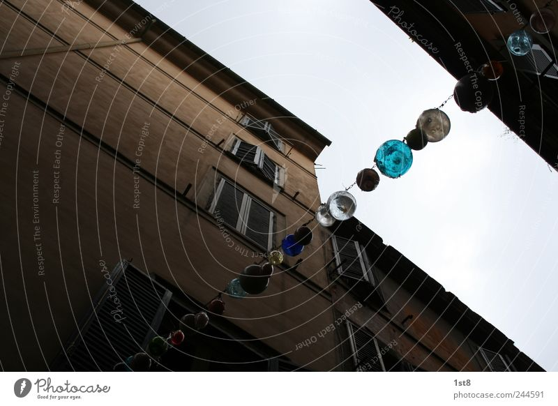 balls of glass Small Town Old town Pedestrian precinct Populated Manmade structures Building Wall (barrier) Wall (building) Facade Window Illuminate Simple