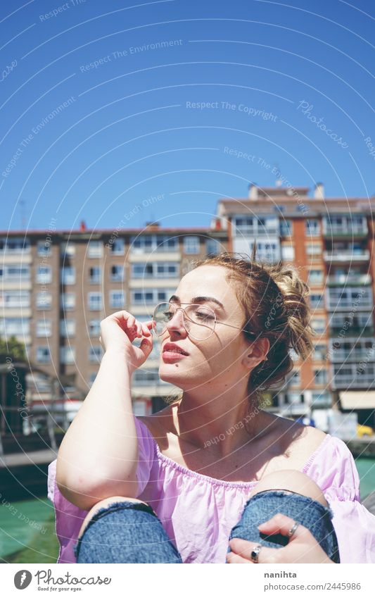 Young and pretty woman enjoying the day in the city Human being Vacation & Travel Youth (Young adults) Young woman Summer Town Beautiful Sun 18 - 30 years