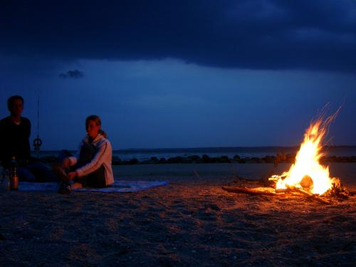 Fire camps 2 Beach Cliff Camping Night Long exposure Fireplace Blaze Brodtener Ufer Baltic Sea