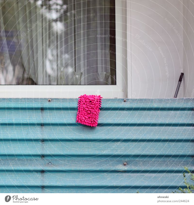 Fashion-conscious cleaning House (Residential Structure) Detached house Building Wall (barrier) Wall (building) Facade Balcony Window Floor cloth Wipe Pink
