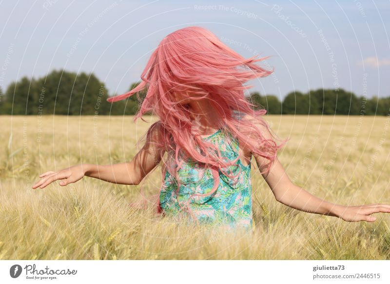 Child Human being Youth (Young adults) Young woman Summer Sun Girl Life Feminine Movement Happy Freedom Hair and hairstyles Pink 13 - 18 years Field