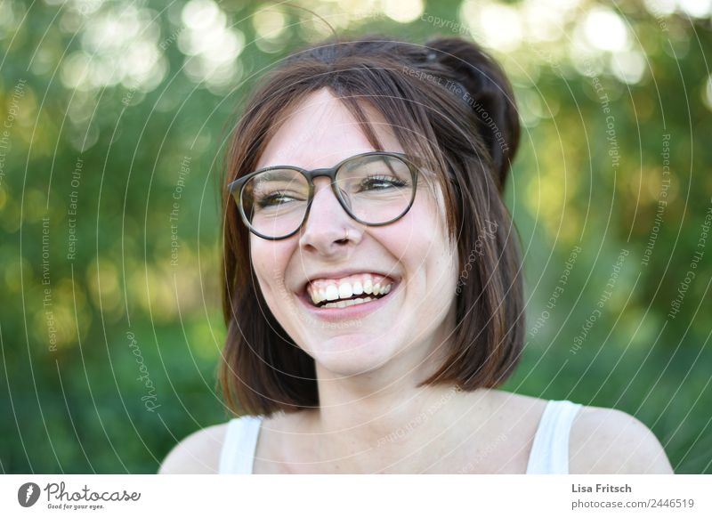 LAUGH - FREE - HAPPY Young woman Youth (Young adults) 1 Human being 18 - 30 years Adults Piercing Eyeglasses Brunette Short-haired Laughter Esthetic Happiness