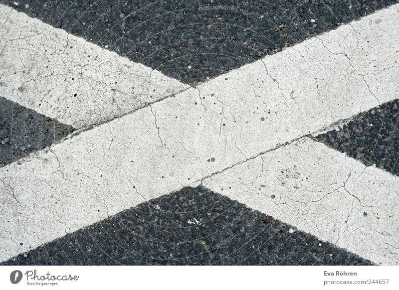 Cross on asphalt Street Lanes & trails Sign Signs and labeling Road sign Simple Firm Gray White Calm Stagnating Bans Crucifix X crossed out Canceled Asphalt