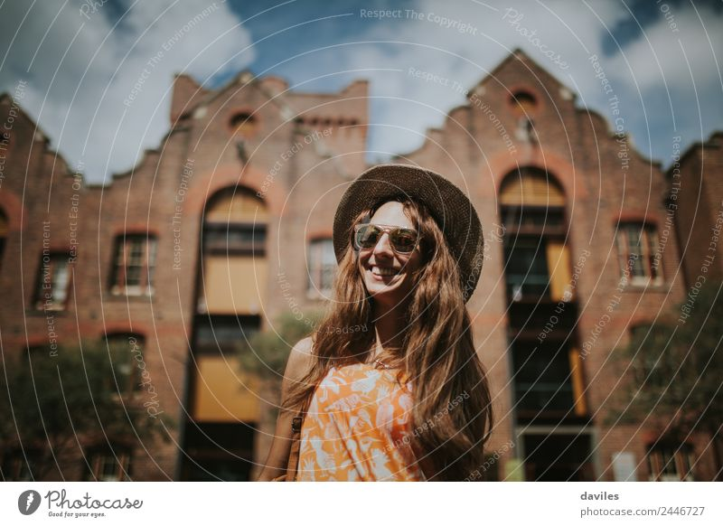 Happy smiling woman visiting the city Lifestyle Joy Leisure and hobbies Vacation & Travel Tourism City trip Summer Human being Young woman Youth (Young adults)