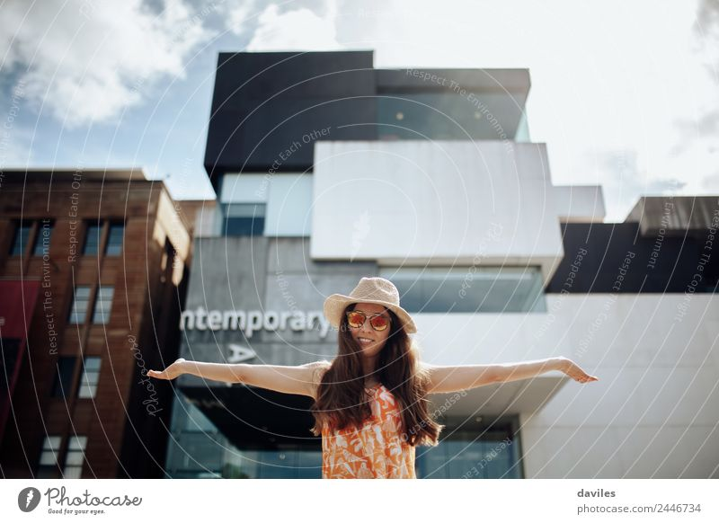 Cute woman with opened arms posing in front of Sydney Contemporary Art Museum. Lifestyle Leisure and hobbies Human being Young woman Youth (Young adults) Woman
