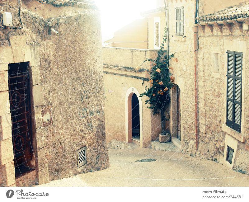 siesta Alley Spain Majorca Cap Depera Siesta Extinct Deserted Natural stone Street Medieval times Beige angled
