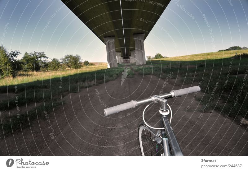 Street Bicycle Esthetic Bridge Perspective Lifestyle Longing City life Highway Traffic infrastructure Vehicle Motoring Wanderlust Racecourse Cycling