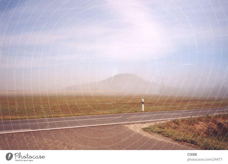 morning fog Fog Field Loneliness Morning Street Mountain Americas Sky