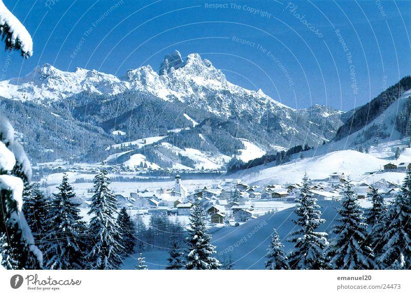 Nature Tree Winter Cold Snow Mountain Landscape Mountain village