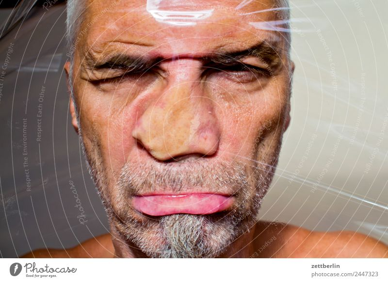 Human being Man Face Eyes Mouth Nose Plastic Facial hair Window pane Distorted Packing film Squash Deformation Deferred Contusion Squashed